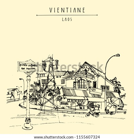 Old French Colonial House In Vientiane Capital Of Laos Southeast
