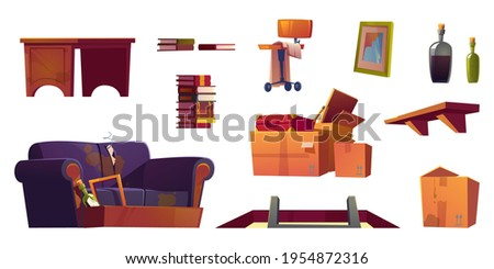 Old furniture stored on house attic. Hatch with ladder, wooden shelf, sofa with torn upholstery and dirty cardboard boxes with junk. Vector cartoon set with chair, book stack, table and broken frame Photo stock ©