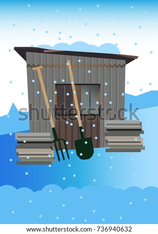 old garden shed in the winter