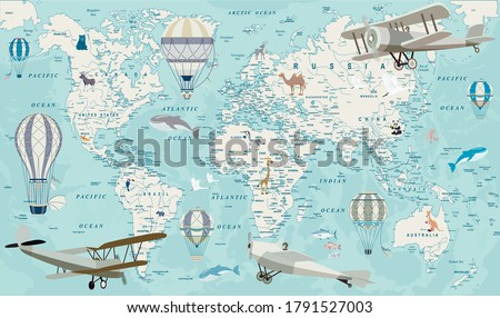 Old geography travel map with regional animals and aircrafts. Vector.