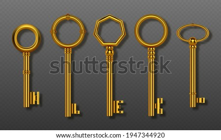 Old gold keys collection isolated on transparent background. Vector realistic set of vintage decorative golden keys for lock, house door or treasure. 3d shiny symbols of secret, security and privacy Photo stock ©