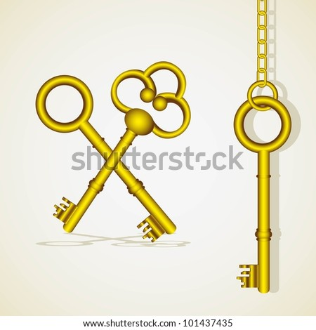 old golden key dangling chain links