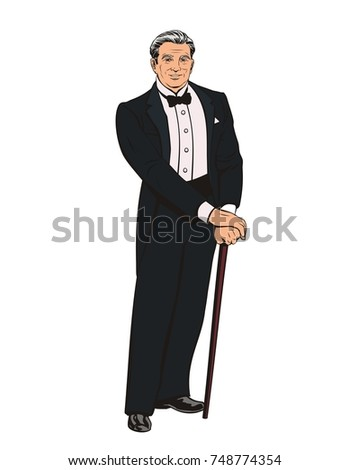 old good looking gentleman in a tuxedo stands with a cane, vector image
