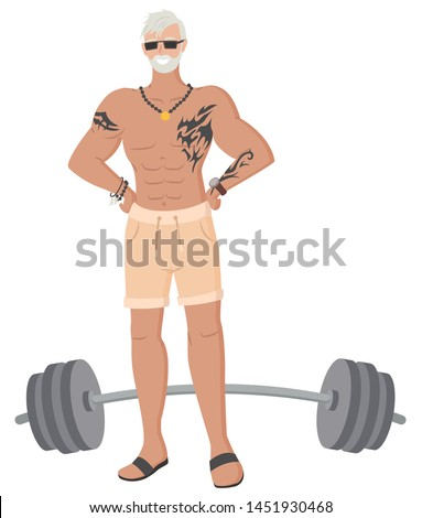 Old grey-haired man in gym vector, isolated senior person with tattoo flat style. Workout weightlifter grandfather hipster bodybuilder training with barbell. Muscles of personage
