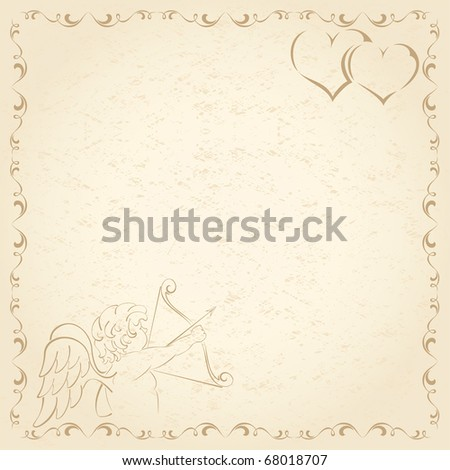 Old grunge paper with Cupid and Hearts, illustration