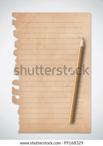 Old Grunge Paper with Pencil Vector