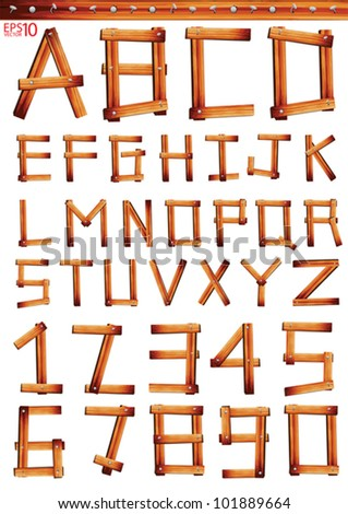 Old Grunge Wooden Alphabet and numbers, vector set with all Letters - stock vector