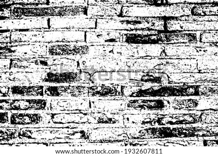 Old grungy rustic dirty dusty brick wall of ancient city. Uneven pitted peeled surface brickwork of cellar worn. Ruined rusty stiff blocks. Spotted messy ragged holes brickwall for 3D grunge design Photo stock ©