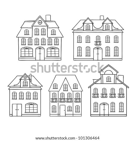 old hand drawing houses