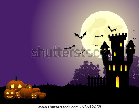 Old haunted castle in the night