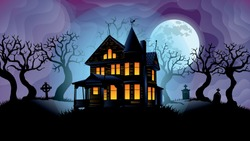 Old haunted house surrounded by silhouettes of trees with the big white moon behind over purple sky with foggy background. Vector image