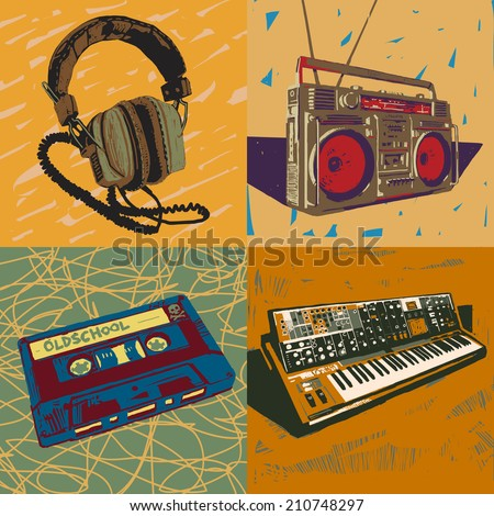 Old headphones, ghetto blaster, tape cassette and synthesizer vector graphic illustrations set