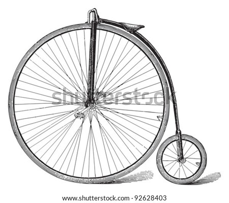 Old high wheel bicycle / vintage illustration from Meyers Konversations-Lexikon 1897