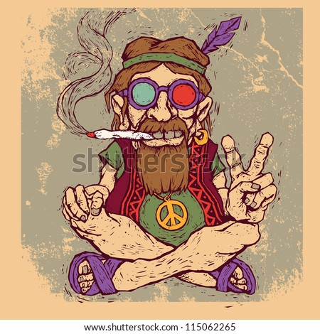old hippie smokes marijuana and shows the peace symbol. color version. vector illustration