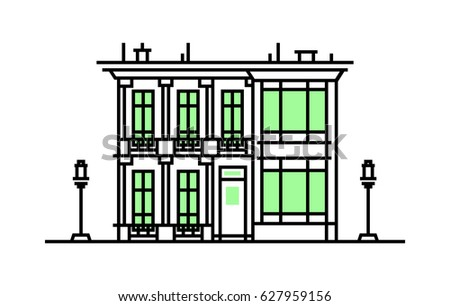 Old house. American style. Flat design style. Outline stroke icon. Building illustration