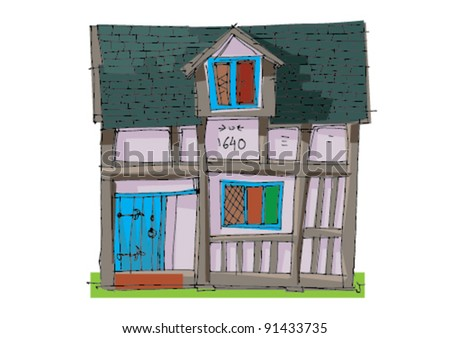 old house - cartoon