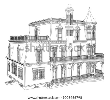 Old House In Victorian Style Illustration On White Background Black And