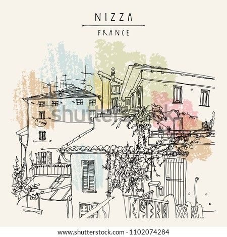 Old houses in Nizza (Nice), France. Vintage hand drawn Mediterranean cityscape. Travel sketch. Retro touristic postcard, poster, booki illustration in vector
