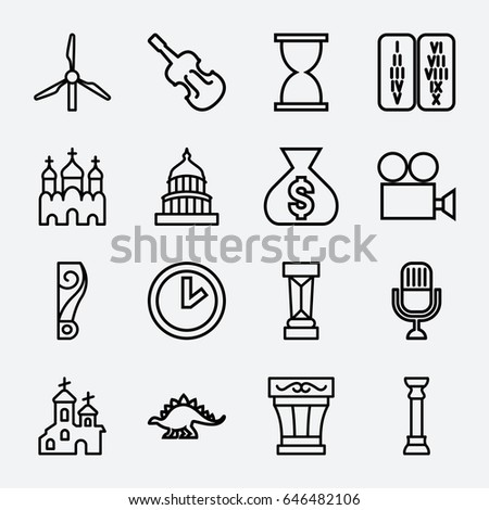 old icon set of 16 old outline