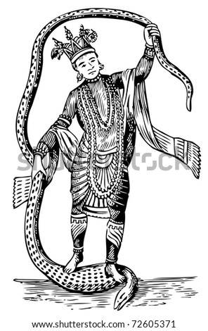 Old illustration of Vishnu in the 8th Avatar. Live trace vector. From History of the Ancient and Honorable Fraternity of Free and Accepted Masons and Concordant Orders, edited by Lee C. Hascall, 1890