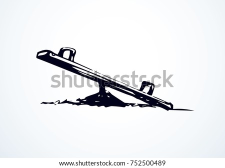 Old imbalance rocker totter see saw sween on white background. Line black ink hand drawn logo emblem sketchy in art retro scribble cartoon graphic style pen on paper. Close up view with space for text