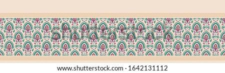 Old indian arabesque paisley buta leaf seamless vector border pattern. Ornate spice color middle eastern banner background. Vintage ethnic decorative floral foulard medallion ribbon trim edging.  Photo stock ©
