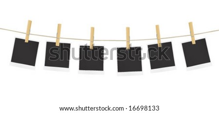 Old instant photo frames on a leash. Vector File background can be changed. - stock vector