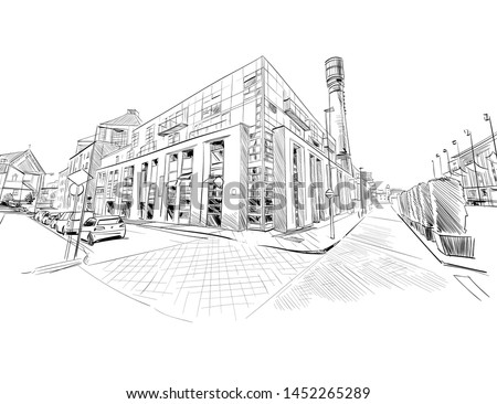 Old Jameson Whiskey Factory. Urban sketch. Hand drawn vector illustration.