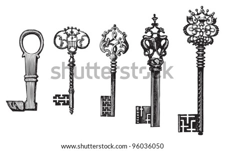 Old key collection / vintage illustration from Meyers Konversations-Lexikon 1897