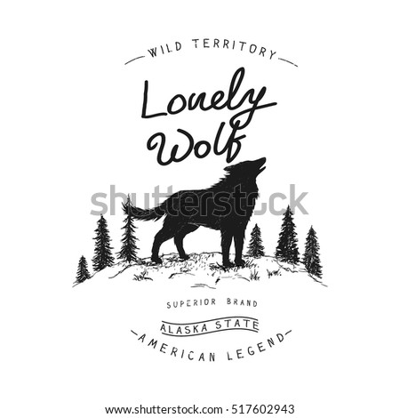 old label with wolf in forest