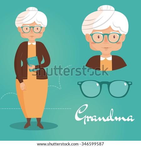 old lady grandma vector