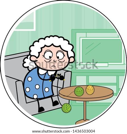 Old Lady Weaving Wool - Old Woman Cartoon Granny Vector Illustration