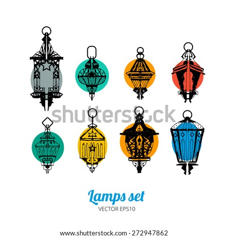 Old lamp icons vector illustration set