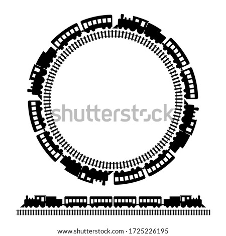 Old locomotive and round railway icon isolated on white vector illustration Photo stock ©