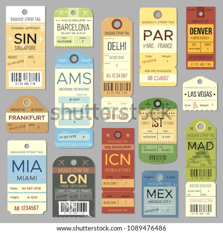 Old luggage tag or retro label with flight register symbol. Isolated vintage airline baggage tags and airport tickets vector set