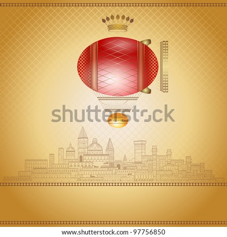 old luxury easter airship background