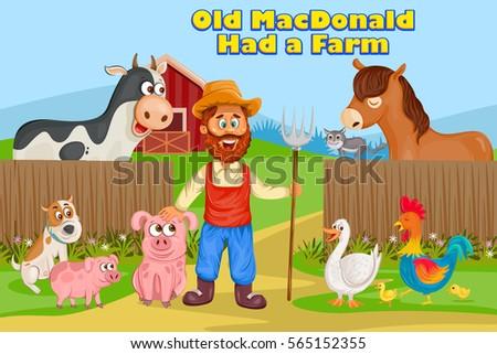 Old MacDonald, Kids English Nursery Rhymes book illustration in vector Stock photo ©