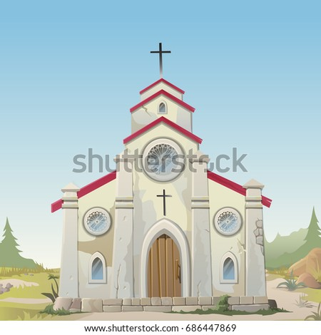 Old made of stone Catholic Church. Vintage architecture in style of wild West. Card on theme of Catholic holy traditional religion symbol. Poster wild West style. Vector cartoon close-up illustration.