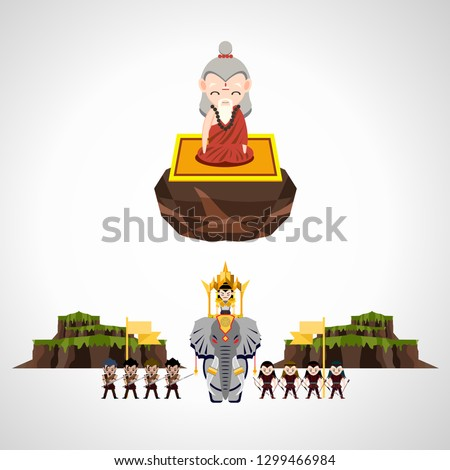 old magician sitting on stone throne and king on elephant with troop of soldiers