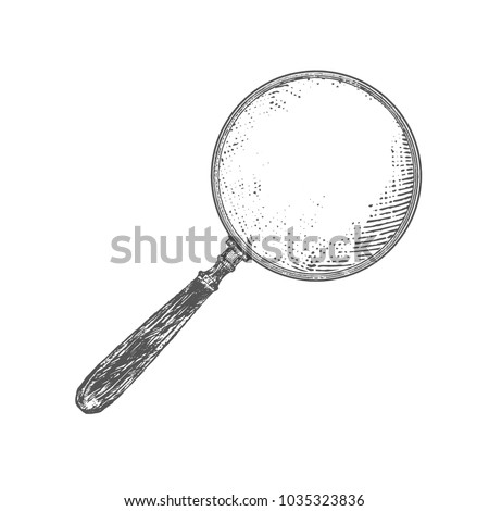 Old magnifying glass. Vintage Victorian Era Engraving style retro vector lineart Hand drawn illustration