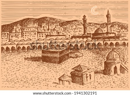 Old Makkah drawing in etching style. Editable Clip Art.