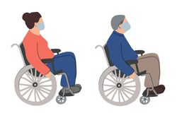 old man and woman set are sitting in a wheelchair and wearing face mask. Unfaced elderly male and female with physical disabilities. Flat vector illustration. Prevention or protect coronavirus concept