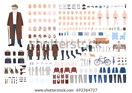 Old man character constructor, creation set. Different grandfather postures, hairstyle, face, legs, hands, clothes, accessories. Vector cartoon illustration. Front, side, back view
