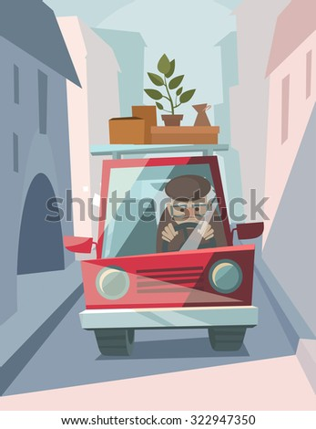 old man drive a red car vector