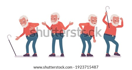 Old man, elderly person with cane having heart, back ache. Senior citizen over 65 years, retired bearded grandfather, aged pensioner. Vector flat style cartoon illustration isolated, white background Photo stock ©