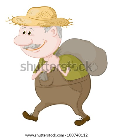 Old man in a straw hat carries a canvas bag. Vector illustration
