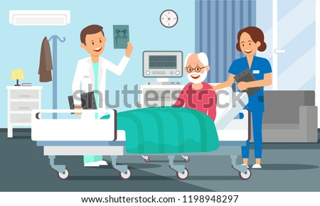 Old Man in Hospital Room Concept. Senior Male Patient resting in Hospital Bed. Doctor and Nurse visiting a Older Person. Medical Health care. Hospital Ward Set. Vector Flat Illustration