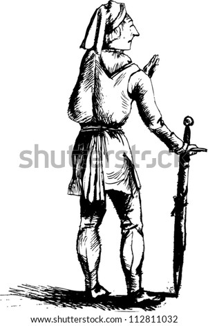 Old man in medieval clothes with sword
