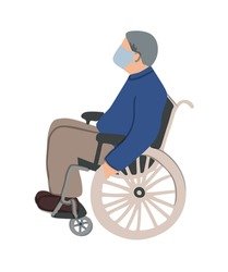 old man is sitting in a wheelchair and wearing face mask. Unfaced elderly male with physical disabilities. Flat vector illustration. Prevention or protect coronavirus concept