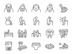 Old man line icon set. Included icons as older people, aging, healthy, senior, life and more.